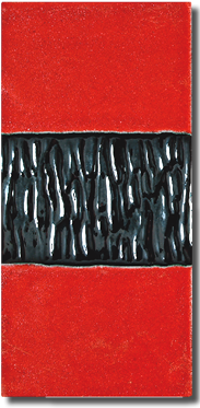 Carrelage Décoration Frise X Lichen Intérieur Rouge - Carrelage frise